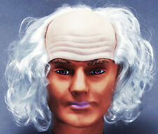 Bald Old Man White Wig Einstein Mad Professor Halloween Fancy Dress