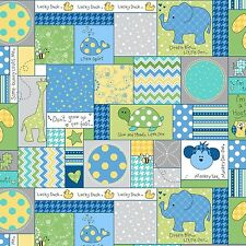 Fabric Baby Animals Patchwork Squares on Blue Flannel by the 1/4 yard BIN