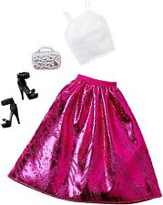 Barbie Doll Fashionistas Clothing Pack Fashion Outfit Pink & White Evening Dress