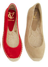 VINCE CAMUTO SIGNATURE WOMEN BELLA RED SUEDE FLAT ESPADRILLE SHOES S 10 NEW