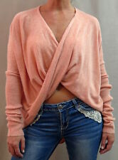 Sexy Asymmetrical Cross-Over Ultra Soft Long Sleeved Peach Wrap Sweater. Small