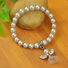 Girls Stretch Pearl Bracelet With Angel Charm - Holy Communion / Christening