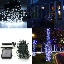 100 LED Pure White Solar Power String Lights Outdoor Garden Lawn Path Party Lamp