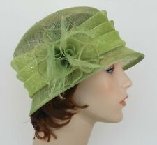 New Church Kentucky Derby Wedding Sinamay Ascot Cloche Dress Hat 1711 Lime Green