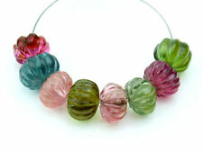Exquisite Natural Tourmaline Hand Carved Melon Rondelle Gemstone Beads (0925)