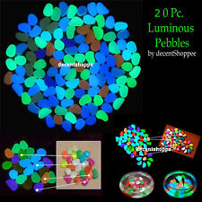 20 Pc. Colorful Luminous Pebbles Night Glow Light Stones Aquarium Decoration