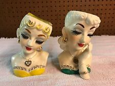 "RARE Gorgeous 5 1/2"" Glass Hat Lady Head Vase Lot Of 2 - As Is"