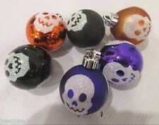 "(6) Halloween Glitter Plastic Skull Ball 2"" Ornaments Decorations"