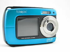 fotopix 18MP underwater digital camera, 3m Waterproof, Dual Screen, Blue
