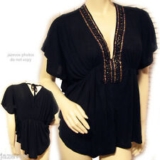 Womens BLACK BAT WING Batwing SLEEVE GOLD Ribbon BEADS V-NECK Empire Waist TOP M