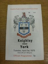 01/04/1975 Rugby League Programme: Keighley v York  . Condition: We aspire to in