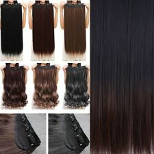 Long Women One Piece Clip in Hair Extensions Brown Blonde Hairpiece As Human lk0