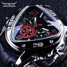 Unique Design Jaragar Sport Racing Triangle Leather Strap Men Automatic Watch