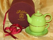 STACKING TEA SET FOR ONE ADELINE FINE PORCELAIN TEAPOT TEACUP GIFT BOX GREEN CUP