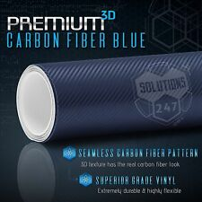 "3D Blue Carbon Fiber Matte Vinyl Wrap Bubble Free Air Release 48"" x 60"" In Roll"