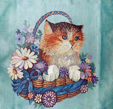 """Tapestry Quality Heavyweight Cushion Cover Kitten in a Basket 20 x 20"""" Cat"""