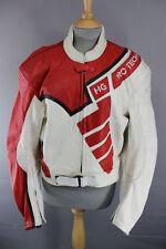 SUPERB HEIN GERICKE PRO SPORTS WHITE & RED LEATHER BIKER JACKET 44 INCH