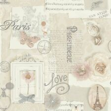 Vintage Shabby Chic Paris Wallpaper Natural 665400 Free Postage