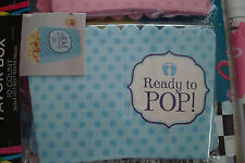 Blue Ready To Pop Popcorn Baby Shower Favor Boxes, Brand New