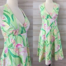 Lilly Pulitzer green pink halter full skirt floral tea dress cotton party 12 L