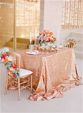 "Newest Fashion Rose Gold Sequins Wedding Party Tablecloth (48""*72"")"