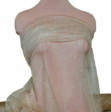 """GLITTER TULLE NETTING SHEER  IVORY/GOLD 58 """"  POLYESTER , DRESS, COSTUME, CRAFTS"""
