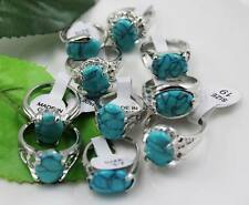 wholesale 10p Thick 925 sterling Silver mixed turquoise rings Jewelry 6-10 Y175