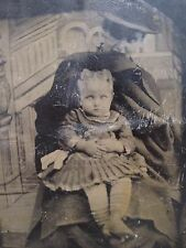ANTIQUE AMERICAN HIDDEN MOTHER FAIL OOPS BLUE EYED DEVIL BABY OLD TINTYPE PHOTO