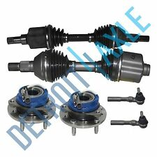 2 Front CV Axle Shafts + 2 NEW Wheel Hub and Bearing Assembly + 2 Outer Tie Rods