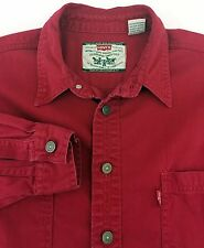 Vtg Levi's Red Tab Red Denim Shirt w/ Silver Metal Buttons, Men's Large, Cowboy
