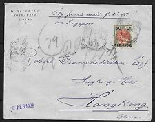 Netherlands Indies covers 1905 NVPH 36 cover Soerabja to HONG KONG