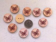 """Pkg of 10 BUTTERFLY 2-hole Wood Buttons 1"""" (25mm) Scrapbook Craft Doll (5117)"""