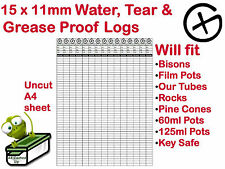 15 Geocache Logs Geocaching Log Sheets Water Rip Tear & Grease Resistant Paper