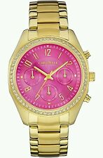 Caravelle New York Ladies Pink Dial Stainless Steel Gold Chronograph Watch. New