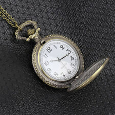 Antique Vintage Retro Bronze Quartz Pendant Chain Necklace Pocket Watch FE