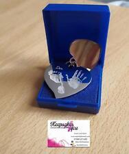 Empreinte/empreinte/photo gravé personnalisé double pendentif en forme de cœur -
