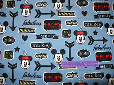 Disney Mickey Mouse Minnie Vintage Cartoon Icons Cotton Fabric BY THE HALF YARD