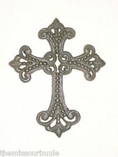 "NEW~Cast Iron Ornate Beaded Design Cross~Christian Wall Hanging Decor~7.5"" high"