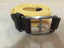 MARTIN DINGMAN Yellow Cotton And Brown Leather WOVEN Men's BELT SIZE 40