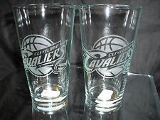 CLEVELAND CAVALIERS ETCHED LOGO (2) 16 OUNCE PINT GLASSES NEW