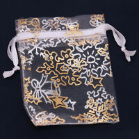 50x New Charms Organza White Snowflake Wedding Favours/XMAS Gift Bags Wholesale
