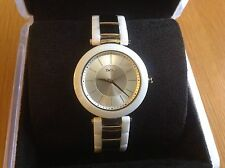 DKNY Ladies Stanhope Three Hand Dial White Ceramic And GoldTone Watch NY2289