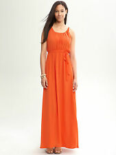 Banana Republic Orange Tie Waist Chiffon Patio Dress SIZE 2 UK 10 MAXI DRESS