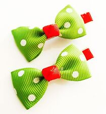 USA SELLER HANDMADE FABRIC Hair Clip PIN Claw Bowknot Kids Child Blue Green Red