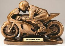 """AWESOME THREE DIMENSIONAL MOTORCYCLE RACING TROPHY 9 1/2"""" CAR SHOW AWARD MRF2032"""