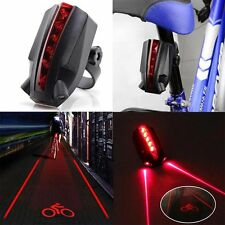 Cyclisme Bicyclette Eclairage Lampe Vélo Feu Arrière 5 LED 2 Laser Lumière LOGO