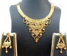 22K Gold Plated Designer Necklace Earrings Indian Wedding Jewelry Sale Price M