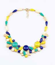 Yellow blue resin flower beaded choker collar bib 18k gold necklace