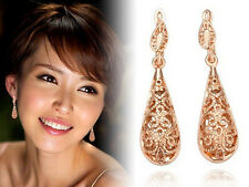 Love Temptation Intricate Pattern Elongated Drop Earrings Silver or Rose Gold