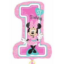 Minnie  Mouse 1st First Birthday Giant Supershape Number 1 Foil Balloon